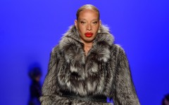 TORONTO, ON - MARCH 26:  Stacey McKenzie walks the runway wearing Farley Chatto fall 2015 collection during World MasterCard Fashion Week Fall 2015 at David Pecaut Square on March 26, 2015 in Toronto, Canada.  (Photo by George Pimentel/Getty Images for IMG)